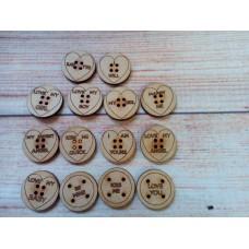 Laser Cut Valentine Buttons PK10